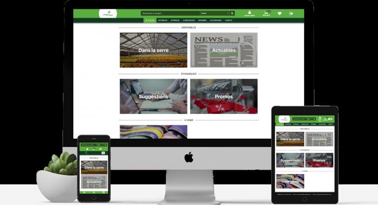 Mockup représentant plusieurs tailles d'écran sur le site de Limagne Fleurs