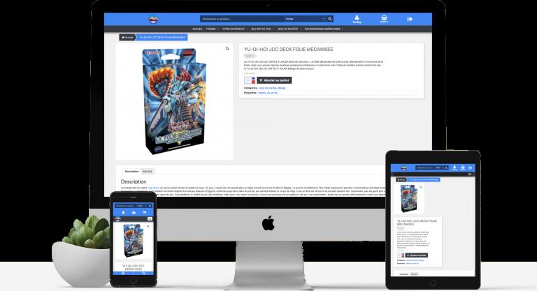 Mockup représentant plusieurs tailles d'écran sur le site de Univers Geek